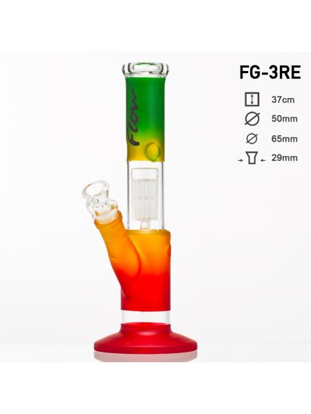 """Бонг стеклянный """"Flow"""" Раста расцветка H:37cm - SG:29.2/18.8mm"""